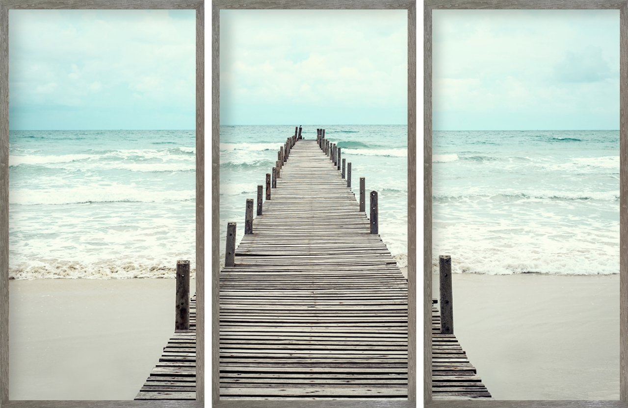Picture Depot | triptych-long-wooden-dock
